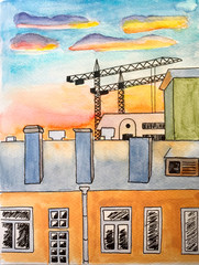 Watercolor painting with ink pen lines city landscape - houses and buildings cranes - during sunset