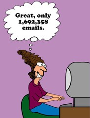 Business cartoon about too many emails.