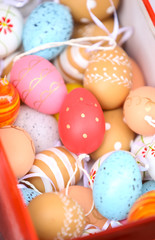 Painted easter eggs in box