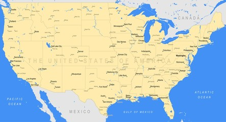 Detailed United States of America map | Vector a large color map of the USA
