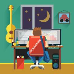 Programmer Working from Home. Freelancer Working at Night sitting on Chair with Wheels. Programming Code and Diagrams on Two Monitors. Programmer Working at Desktop Computer vector illustration.