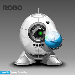 Robot Holding Planet Earth Hologram in one Hand. Robot Cyborg with Eye Camera Hologram Projector, Arms and Legs. Digital background vector illustration.