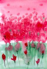 Fond de hotte en verre imprimé Inspiration painterly Watercolor painting. Background meadow with red flowers.