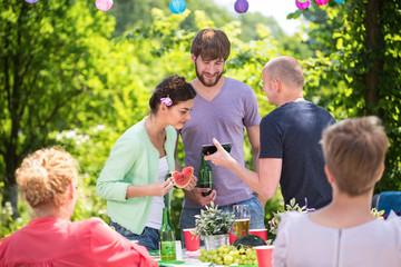 Family on a garden party