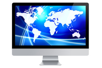Computer screen displaying world map on abstract technological blue background isolated