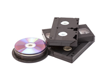Video Cassettes And CD discs isolated on white background