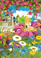 Cartoon scene of some elf girl sitting on the flower - castle in the background - illustration for children