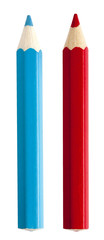 Red and blue color pencils isolated