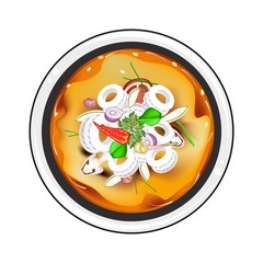 Tom Yum or Thai Spicy and Sour Soup with Squid