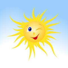 drawn smiling sun on blue sky background