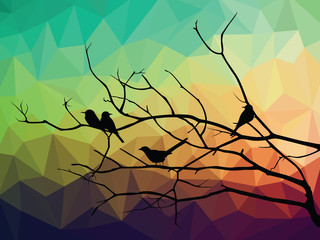 animal of wildlife  bird on tree branch and low poly vector background