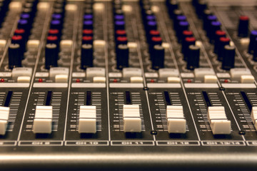selective focus sound mixer background.