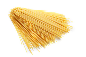 Bunch of spaghetti on white background, close up