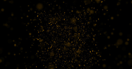 Gold glitter on a black background