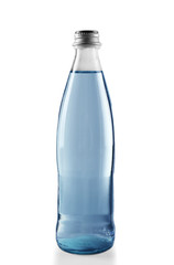 Glass bottled water on the grey background, close up