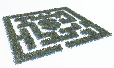 Financial Maze Labyrinth made of usd banknotes