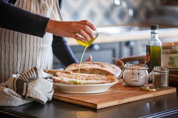 Italian bruschetta with extra virgin olive oil and salt