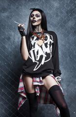 halloween make up sugar skull beautiful sexy brunette model
