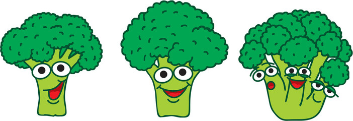 A family cartoon green broccoli with happy smiling faces. Fresh broccoli growing from one stem with confused, smiling, relaxed facial expression.