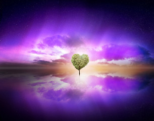 Wall Murals Violet love tree in purple sky