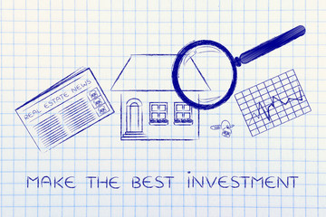 house, news & stats with magnifying glass; make the best investm