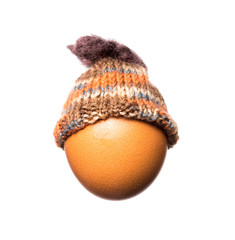 Isolated blank egg with knitted cap