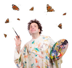 happy painter is inspired butterfly when painting
