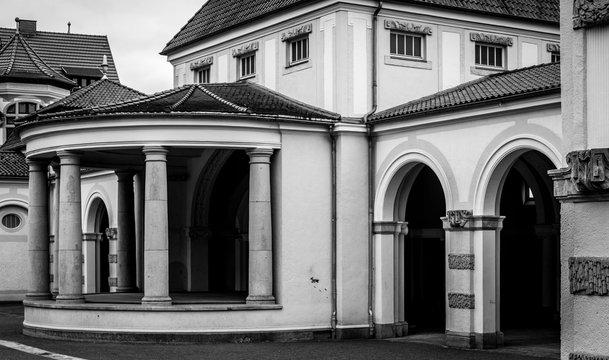 Wandelhalle am Kartausgarten in Eisenach (schwarzweiß)