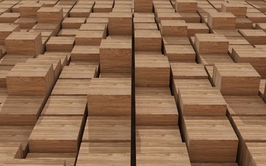 3d rendering of wood cubic random level background.