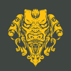 Dragon tattoo T-shirt design. Head of the Asian tiger.