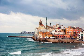 Coastline of summer resort Sitges, Spain