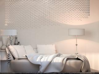 3d render interior design bedroom displayed in the polygon mesh.