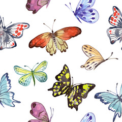 Watercolor seamless pattern with butterflies. Vector background with butterflies on a white background.