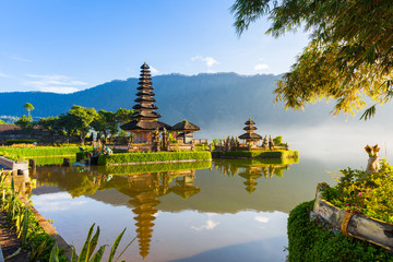 Pura Ulun Danu Bratan at sunrise, famous temple on the lake, Bedugul, Bali, Indonesia.