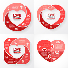 Vector heart circle infographic. Template for love cycle diagram, graph, presentation, round chart. Business concept with 3, 4 options, parts, steps, processes. Happy Valentines Day.