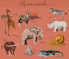 Wild african animals set with nature elements.