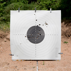 Holes in a shooting practice target.