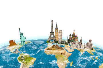 Fotomurales - Famous monuments of the world surrounding planet Earth on white