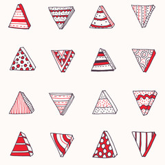 Seamless hand-drawn texture, based on triangles. Black, red and