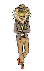 Hand Drawn Fashion Portrait of Lion Hipster isolated on white