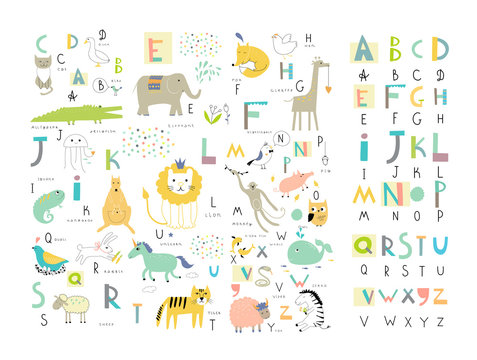 Cute zoo alphabet with funny animals in vector . Letters.