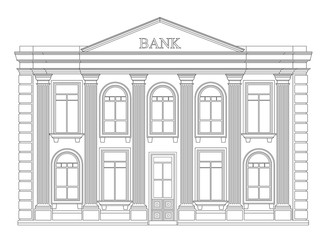 Bank building outline icon isolated. Elegant thin line style drawing design.
