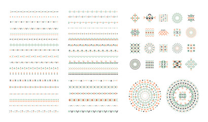 Ethnic set of Pattern Brushes plus decor elements. Isolated