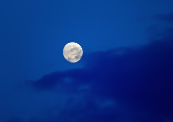 moon in the evening sky among the clouds
