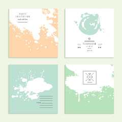 Inkblot collection. Set of four cards. Vector illustration.