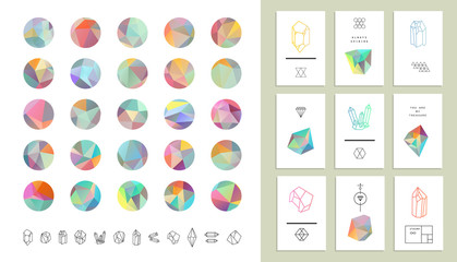 Set of colored crystal circles in polygon style