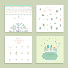 Christmas and New Year's Cards Collection. Winter Holiday Set.