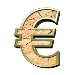 Euro sign from pine wood with gold frame alphabet set isolated over white. Computer generated 3D photo rendering.