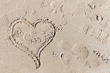 Heart in the sand, the symbol for love