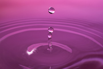 Stop action photo of water drop with reflection